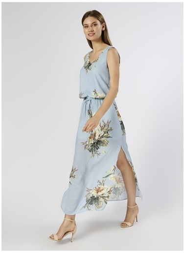 Only Only  Desenli Uzun Mavi  Elbise Mavi